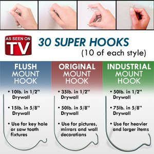 Thinktank Technology Super Hooks- 30 PC Set (3 Styles)