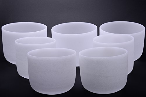 TOPFUND® New Chakra Tuned Set of 7 Frosted Quartz Crystal Singing Bowls 8-12 inch (Singing Bowl Set Crystal compare prices)