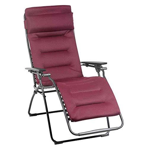 Lafuma - LFM3051-3186 - Futura Air Comfort, Sedia a sdraio pieghevole, imbottita, regolabile in diverse posizioni, colore: Rosso