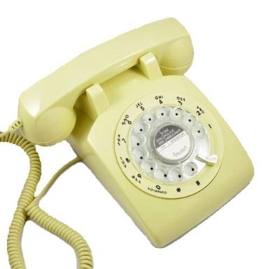 WAYCOM 1960's Style Rotary Old Fashioned Dial Home Telephone -Ivory white (1960 Old Rotary Dial Telephones compare prices)