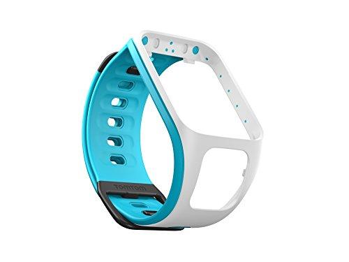TomTom Cinturino Compatibile con Runner2/Spark, Bianco/Azzurro, Small