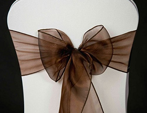 MDS 10 Organza Chair Cover Bow Sash Wedding Banquet Decor -coffee