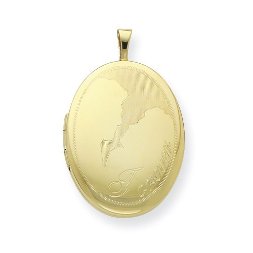 Gold Plated Sterling Silver 20mm Forever Oval Locket