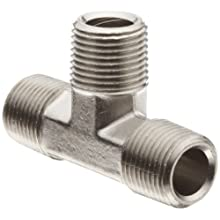 "Polyconn PC128NB-2 Nickel Plated Brass Pipe Fitting, Tee, 1/8"" NPT Male (Pack of 10)"