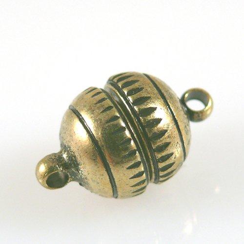 Magnetverschluß Kugel gold antik geriffelt 11mm Verschluss stark -1238