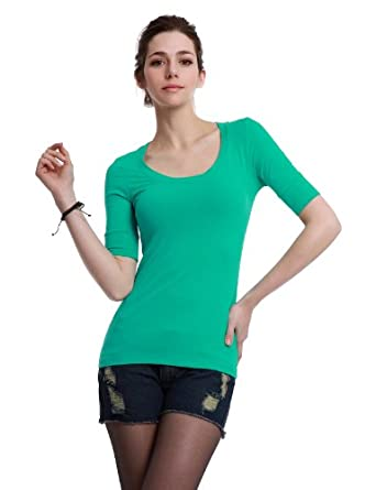 Doublju Basic Knit T-shirt with Half Sleeve BLUEGREEN (US-S)