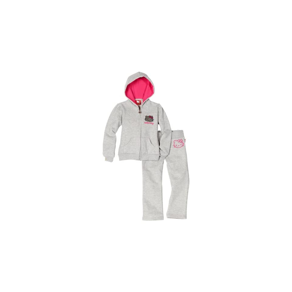 Hello Kitty Little Girls Fashionable Fleece Active Set With Mini Sequins, Heather Grey, 4T