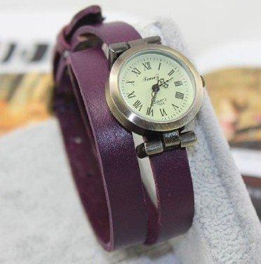 Kano Bak(Tm) Purple Color Fashion Weave Wrap Around Leather Retro Bracelet Woman Girl Man Bo Wrist Gift Watch