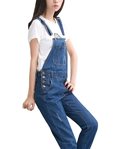 MFrannie Vintage Washed Ripped Slim Boyfriend Style Overall Pant 2