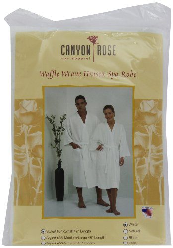 Canyon Rose Waffle Weave Unisex Spa Robe, Short, White by Canyon Rose