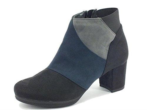 Tronchetti Cinzia Soft per donna in ecocamoscio nero blu grigio (Taglia 39)
