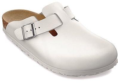 Birkenstock Boston Clogs White Narrow Width Smooth Leather (EU 43 M10)