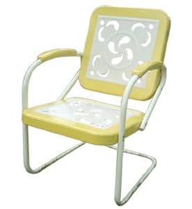 Garden Odyssey 91674YEL Retro Arm Chair Swirl Pattern, Yellow (Discontinued by Manufacturer)