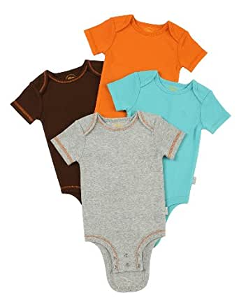 Disney Cuddly Bodysuit with Grow an Inch Snaps, Tigger Camo Solids 4 Pack , Heather/Turquoise/Orange/Brown, 6-9 Months