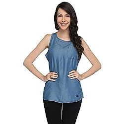 Again? Vintage Light Blue Lyocell Tunics for Women