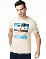 North Coast Pure Cotton Beach Print T-Shirt