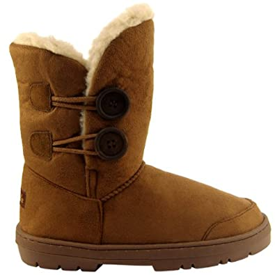Womens Tan Faux Fur Lined Thick Sole Button Winter Snow Boots , Size : 8B(M)US , 6B(M)UK