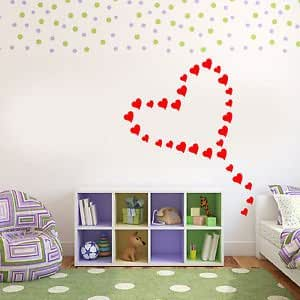 Iconic Stickers - Love Hearts Wall Stickers Decal Car Graphic Home Stencil Transfer Decoration - Size: 9 Large 4.9cmH x 4.2cmW - Colour: Dark Pink