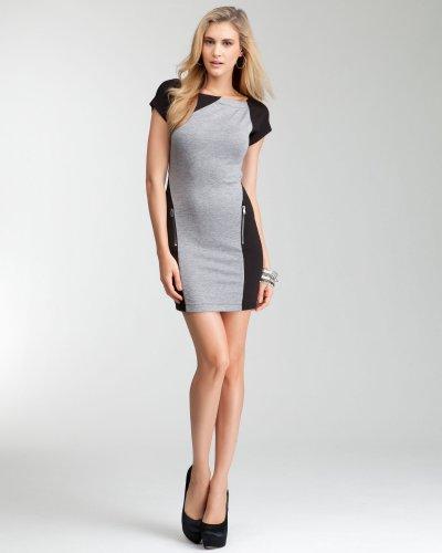Bebe Colorblock Boatneck Zipper Dress Heather Grey-Black Size Large