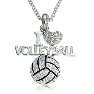 Buy Silvertone Crystal I Love Volleyball Pendant Necklace by PammyJ Necklace