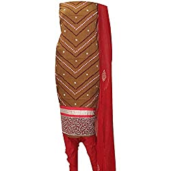 APKAMART Women Cotton Tie and Dye or Rajasthani Bandhej Brown and Red with Nylon Dupatta - Unstitched Dress Material - 2.2 Meters