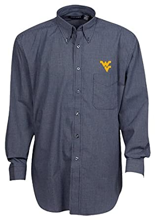 Oxford NCAA West Virginia Mountaineers Mens Mini-Check Button Down by Oxford