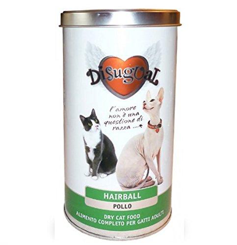 Disugual Hairball Pollo 400 gr - Alimento completo in barattolo, crocchette contro le palle di pelo, per gatti adulti