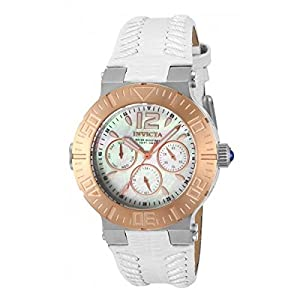 Invicta Angel 14744 40mm Gold Plated Stainless Steel Case White Calfskin flame fusion Women's Watch