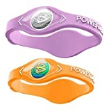 Power Balance Silicone Sports Wristbands-Lavender-PB-Neon-Orange-S-Pack-of-2