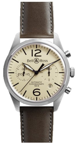 Bell & Ross Men's BR-126-ORIGINAL BEIGE Vintage Beige Chronograph Dial Watch
