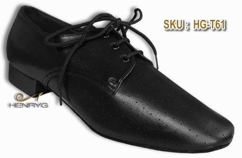 HenryG Mens Dance Practice Shoes, Men's Ballroom Dance Shoes: Black Leather HGB-T61