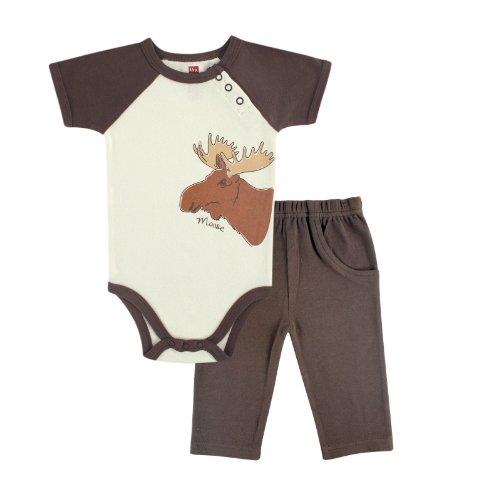 Touched by Nature Baby-Boys Organic Bodysuit and Pant Set, Moose, 0-3 Months