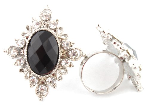 Elegant Ladies Black Antique Centered Stone with Surrounding Stones Adjustable Ring