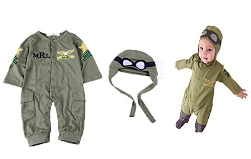Baby Boy Army Air Force Inspired Photo Prop Romper Onesie & Hat 2-pc Set