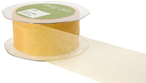 May Arts 3-Inch Wide Ribbon, Dark Gold Sheer