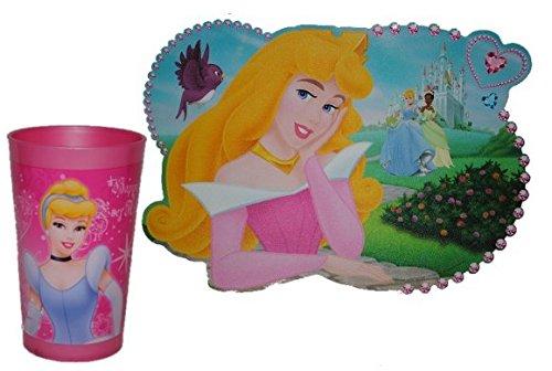 2-tlg-Disney-Prinzessin-Set-Trinkbecher-Unterlage-Becher-Trinkglas-Glas