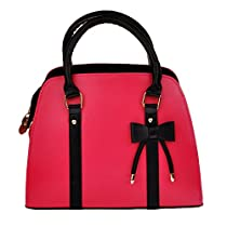 Samaz Women Girls PU Leather Handbag Shoulder Messenger Bag Briefcase with Little Bow Knot (Rose Red)