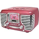 Crosley CR612 Corsair Alarm Clock Radio with CD Player-Metallic Pinkby Crosley