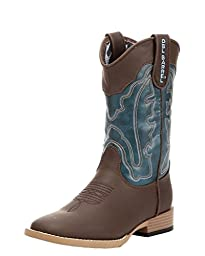 Double Barrel Baby Boys\' Open Range Side Zipper Cowboy Boot Square Toe Brown US