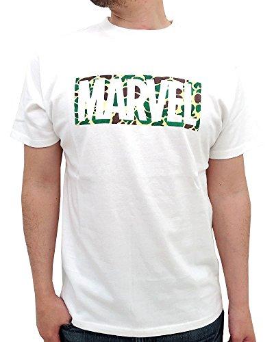 (マーベル) MARVEL Tシャツ メンズ 半袖 迷彩 マーベル ロゴ 2color L ホワイト