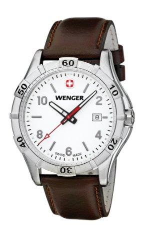 Wenger Platoon 01.9411.101 - Reloj analógico de cuarzo para hombre, correa de cuero color marrón (agujas luminiscentes)