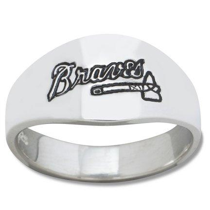 Atlanta Braves MLB Sterling Silver Logo Gents Enamel Band Ring Size 12