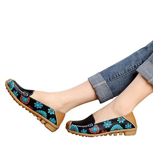 WHENOW Women's Comfortable Slip On Boat Ballet Flat Shoes Driving Shoes Pregnant Women Shoes Black EU 39(US 8)