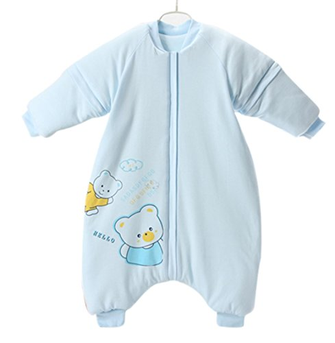 Nine States Baby Cotton Thermal Sleeping Sack Long Sleeve Wearbale Blanket L Blue