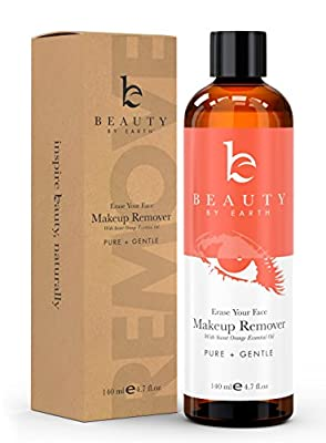 Makeup Remover - Organic & Natural Ingredients, Made in USA - Gentle, Oil Free, Liquid for Removing Eye & Face Make Up on Sensitive, Acne, Dry & Oily Skin - Best Used With Pads, Wipes or Face Towels