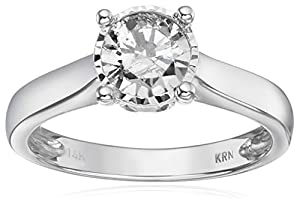 14k White Gold Solitaire Diamond Engagement Ring (1 cttw, I-J Color, I2-I3 Clarity), Size 7 by Amazon Collection