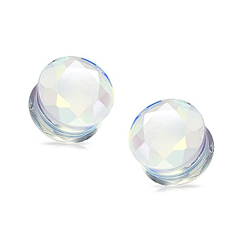 Pair of Opalite Semi Precious Stone Faceted Gem Cut Double Flared Plugs - 4G (5mm) (4g Gem Plugs compare prices)