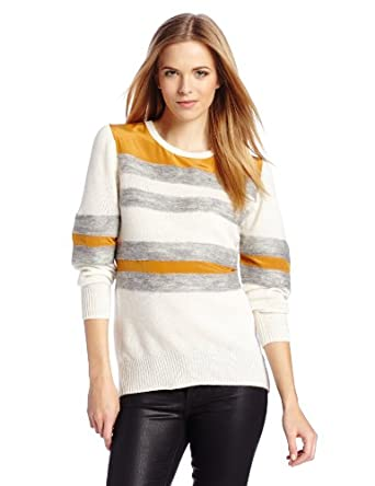 HALSTON HERITAGE Women's Long Sleeve Crew Neck Sweater with Needle Punch Detail, Chalk/Heather Grey/Sienna, Small
