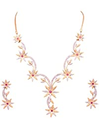 Special Valentine Gift Sitashi Artificial Jewellery Valentine Collection American Diamond, CZ Necklace Set/Artificial...