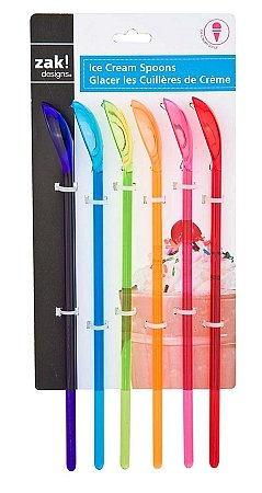 Zak Designs Assorted Rainbow Fountain Spoons, 6-Piece Set